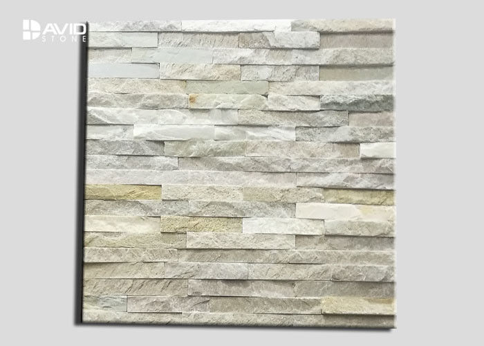 Variegated Quartz Cultured Stone Wall Panels High Temperature Resistance